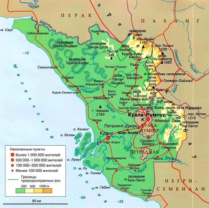 Штат Селангор на карте