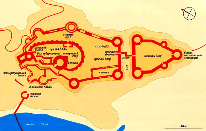 Замок Шато-Гайар на карте