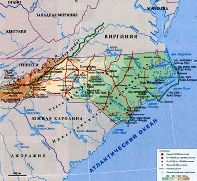 Штат Северная Каролина на географической карте, США, Северная Америка.