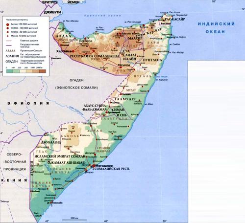 Сомали на географической карте, Африка.