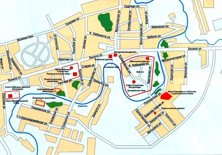 Город Суздаль на топографической карте, Владимирская область, Россия.