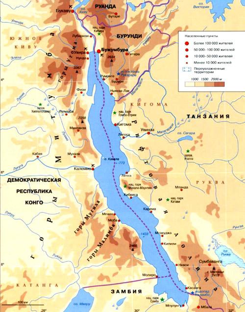 Озеро Танганьика на географической карте, Африка.