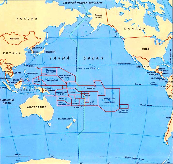 Тихий океан на географической карте