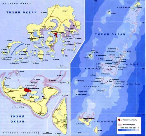 Тонга - Географическая карта