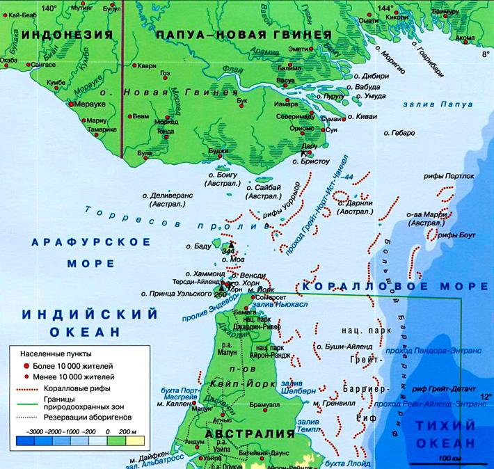 Торресов пролив на карте