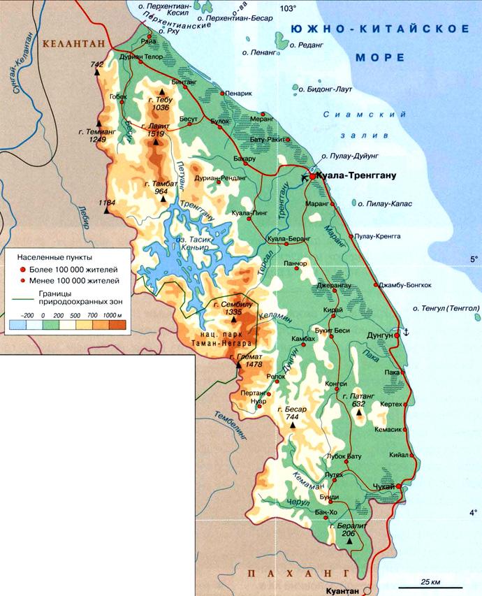 Штат-султанат Тренггану на карте