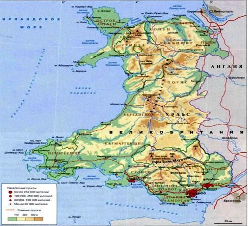 Карта Уэльса - Страны в составе Великобритании