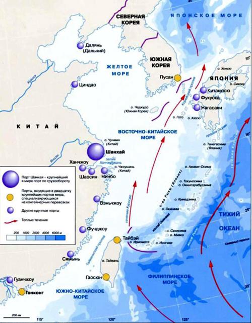 Восточно-Китайское море на географической карте.