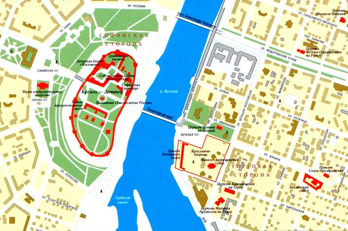 Город Великий Новгород на топографической карте, Россия.