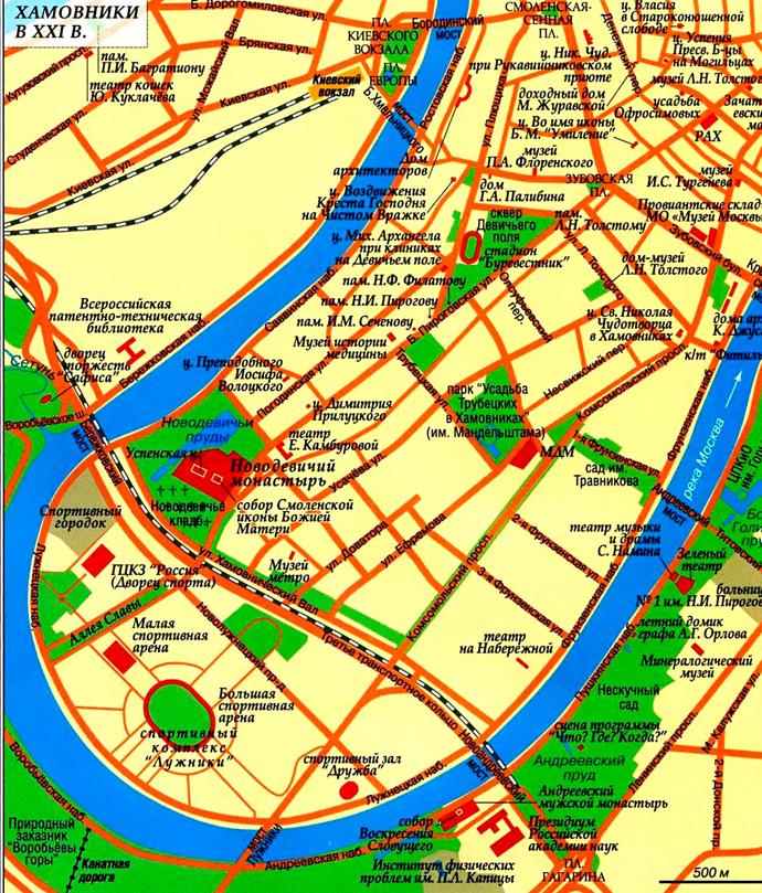 Хамовники на карте Москвы