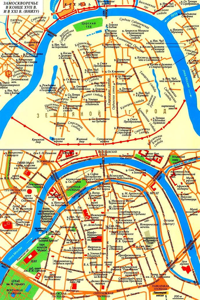 Замоскворечье на карте Москвы