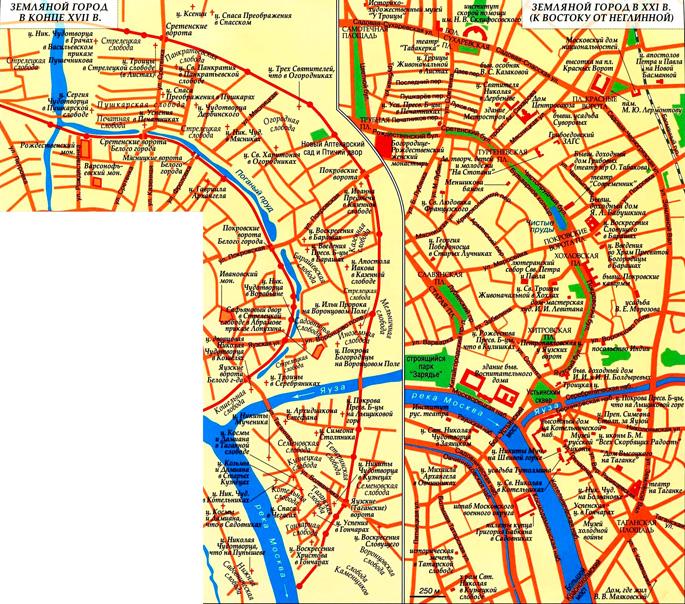 Земляной город Москвы на карте