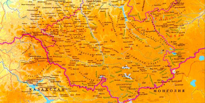 Где находиться горы алтай на карте