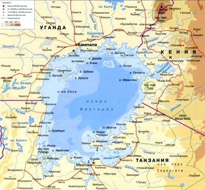 Где находится на карте озеро виктория