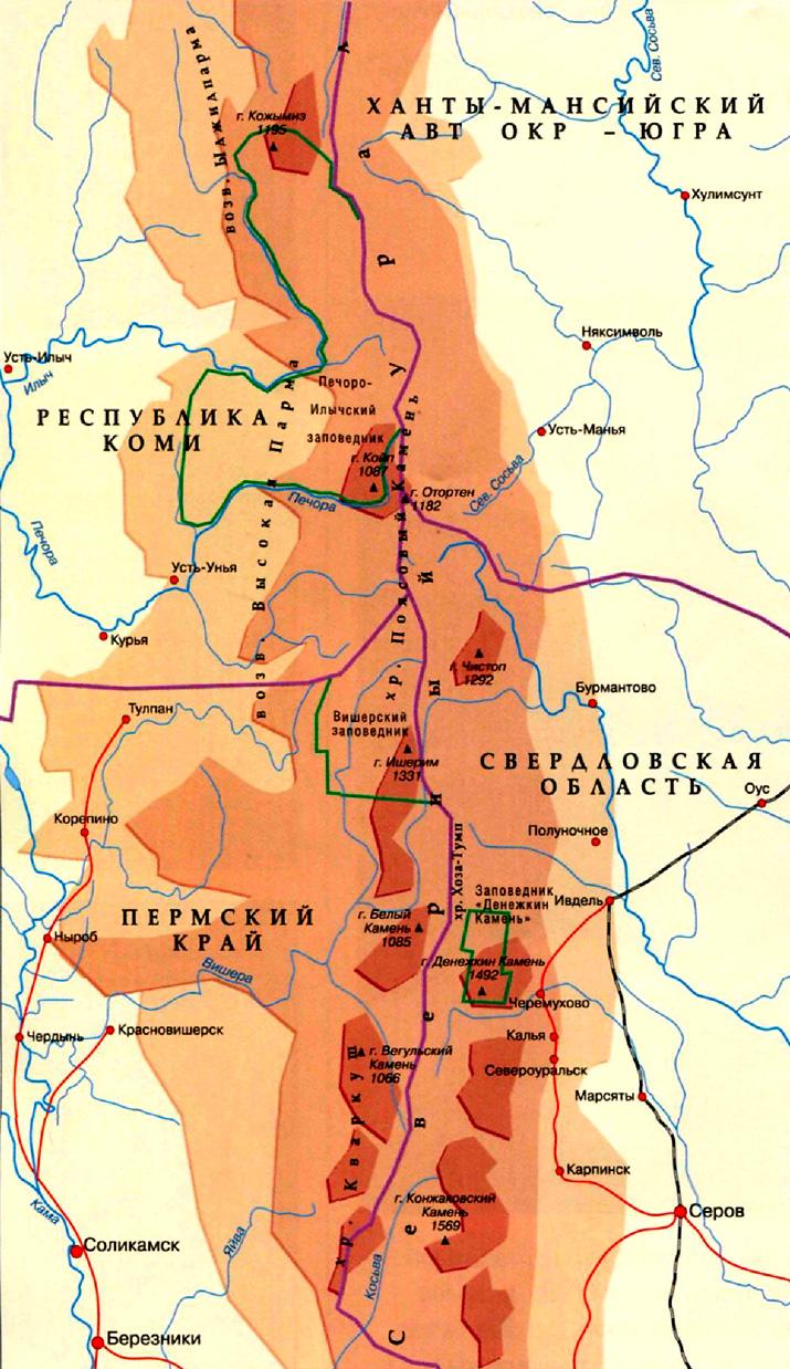 Северный Урал на карте